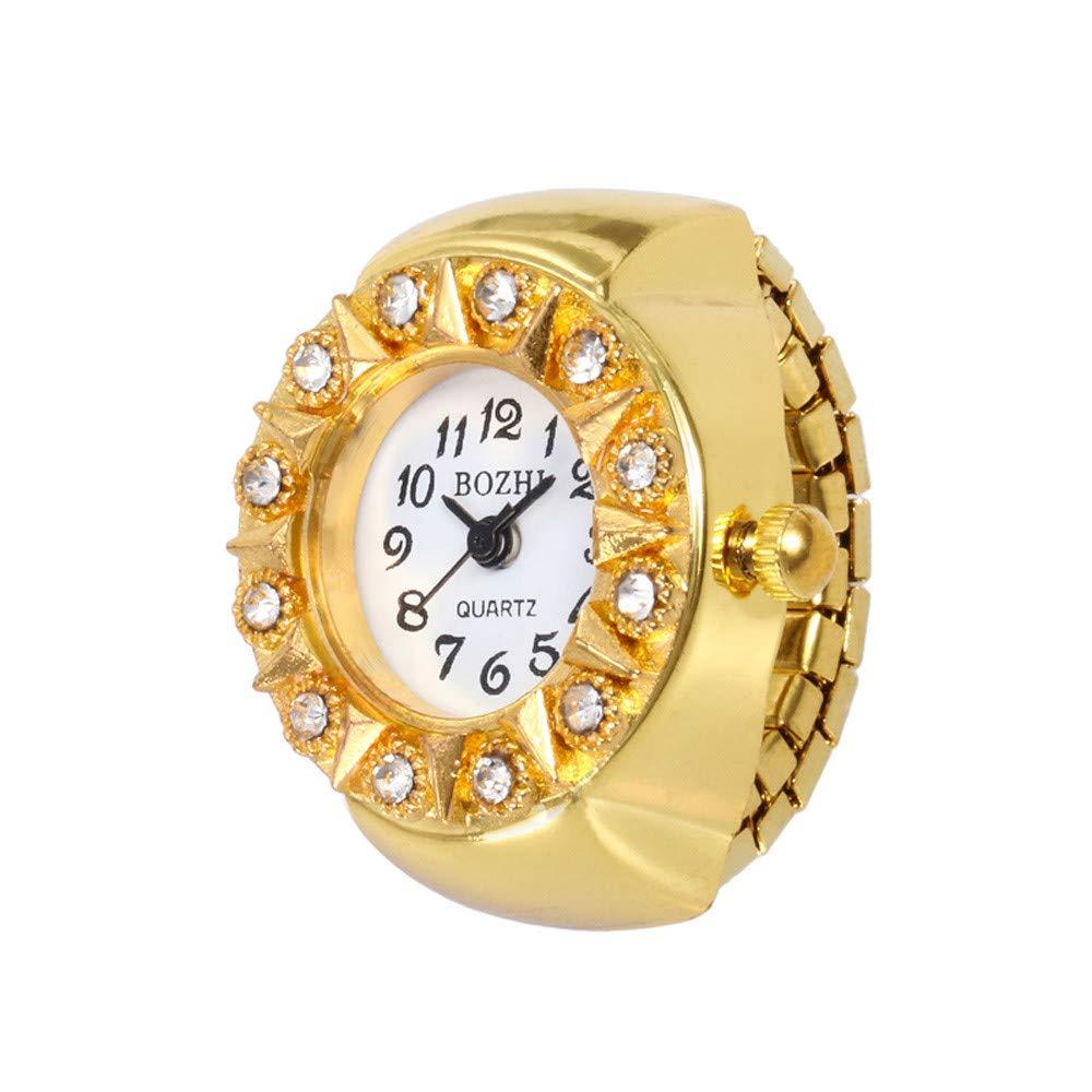 vmree Novelty Rhinestone Finger Ring Watch Creative Design Quartz Analog Mini Watch (Sun)