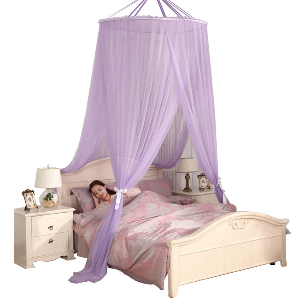 Royal- Dome mosquito net Encryption thickening Home Double bed Exempt from installation Princess style purple ( Size : Top diameter 110cm )