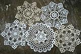 "Set of 14 Hand Crochet Doilies 5""-7""-14"" White"
