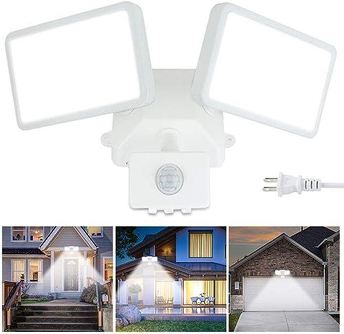 DLLT LED Motion Sensor Flood Lights-20W Outdoor Pir Sensor Activated Security Wall Light Fixture Super Bright Spotlight for Home Pathway Entryways Exterior Lighting,2 Packs 6000K IP65 Waterproof