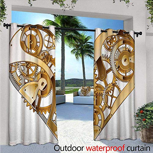 Techno Brown Light - Industrial Exterior/Outside Curtains W84 x L84 Mechanic Heart Physical Bodies Complex Structure of Love Techno Romance for Patio Light Block Heat Out Water Proof Drape Pale Brown White