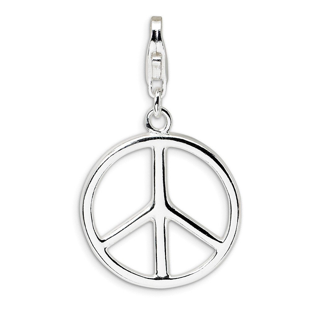 FB Jewels Solid 925 Sterling Silver Large Polished Peace Sign Lobster Clasp Charm