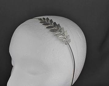 Amazon.com: Diadema de plata con hojas de laurel y corona ...