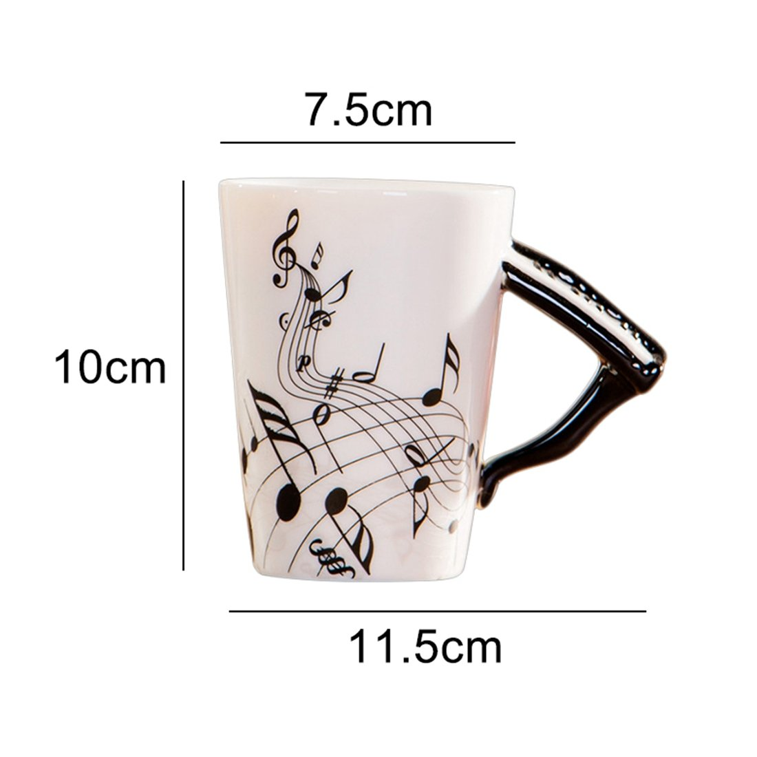 SODIAL Creative novelty piano handle ceramic cup free spectrum coffee mi  tea cup personality mug unique musical instrument gift cup