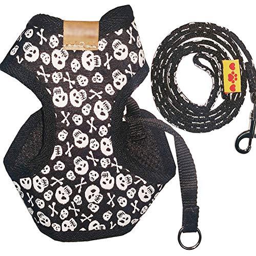 (BYyushop Skull Pattern Puppy Pet Dog Harness Vest + Long Lead Training Leash Strap Set - S)