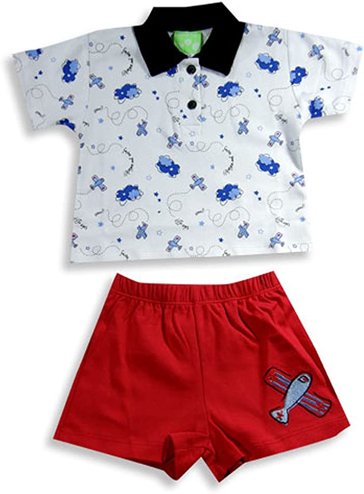 Red 19739-6Months Black Snopea Baby Boys Short Sleeve Short Set White