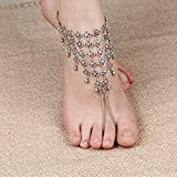 Lace Living Gypsy Sexy Vintage Flower Net Anklet Tassels Foot Sandal Bikini Beach Toe barefoot Ankle Bracelet Cover-up Accessory