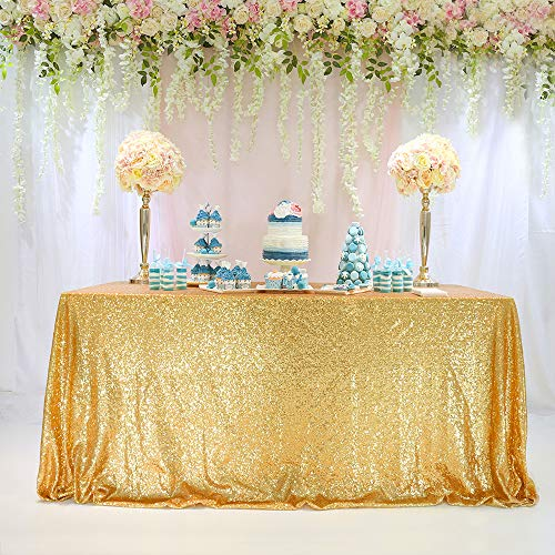 TRLYC 60 x 102-Inch Square Sequin Tablecloth Gold for Wedding Black Friday