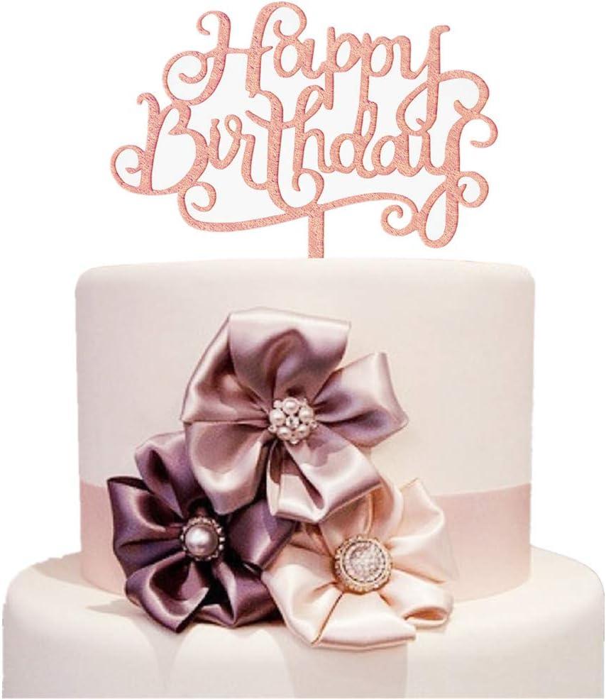 Superb Amazon Com Rose Gold Happy Birthday Cake Topper Happy Birthday Funny Birthday Cards Online Overcheapnameinfo