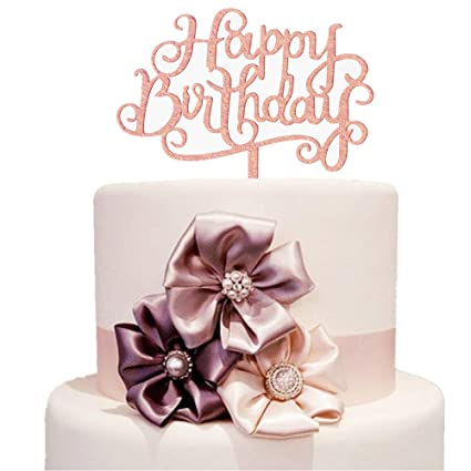Amazon Rose Gold Happy Birthday Cake Topper Silhouette Acrylic Party Decorations Letters Shining Flags Banner Health Personal Care