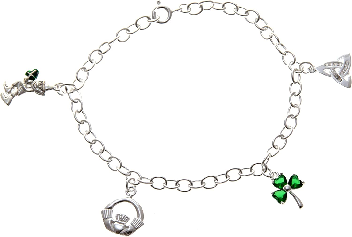 Alexander Castle Sterling Silver Irish Charm Bracelet with Leprechaun, Claddagh, Shamrock and Trinity Charms. Comes in a Jewelry Presentation Gift Box