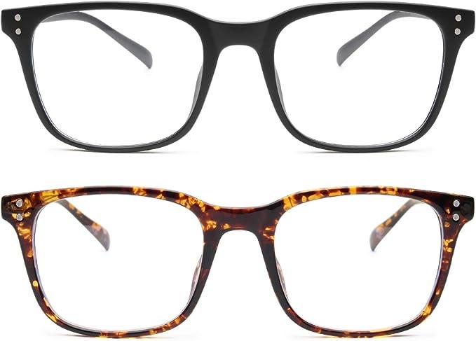 Livho 2 Pack Blue Light Blocking Computer Glasses for Women Men,TR90 Light Weight Frame Anti Eyestrain UV Lens LI5025 (Matte Black+Tortoise)