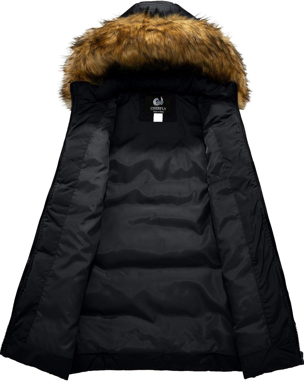 GEMYSE Cappotto Trapuntato Invernale da Donna Parka Giacca Giubbino Lungo Imbottito con Cappuccio in Pelliccia