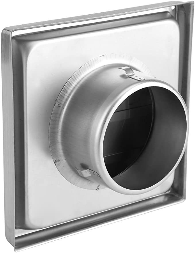 Rejillas de Retorno de Aire Delaman Pared de Acero Inoxidable de 100 Mm Respiradero de Aire Cuadrado Duradero Antioxidante Secador Extractor Salida de Ventilador for Ventiladores de Cocina