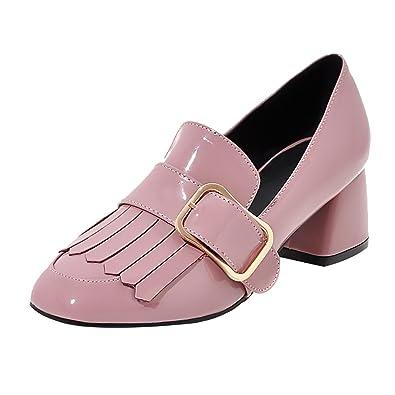 UH Damen Chunky Heels Lack Geschlossen Pumps mit Fransen und Schnalle Bequeme Schuhe