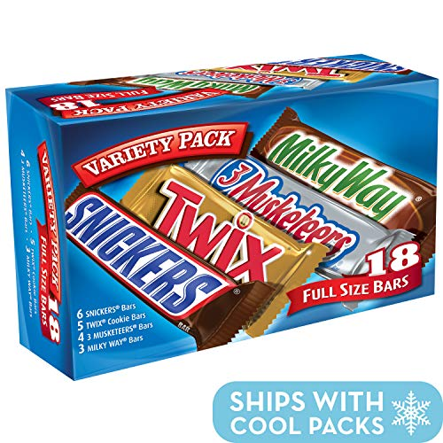 SNICKERS, TWIX, 3 MUSKETEERS & MILKY WAY Full Size Bars Variety Mix, 18-Count Box -