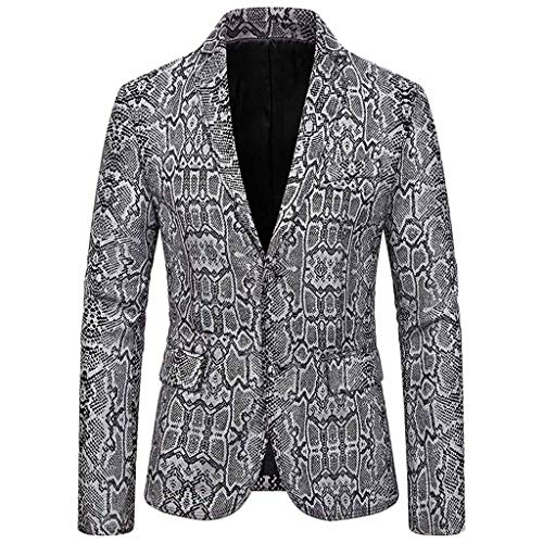 SFE Blazer Jacket for Men Vintage Print Suit Double-Breasted Notched Lapel Long Sleeve Slim Fit Casual Sports Coats Silver (Italian Alpine Hat)