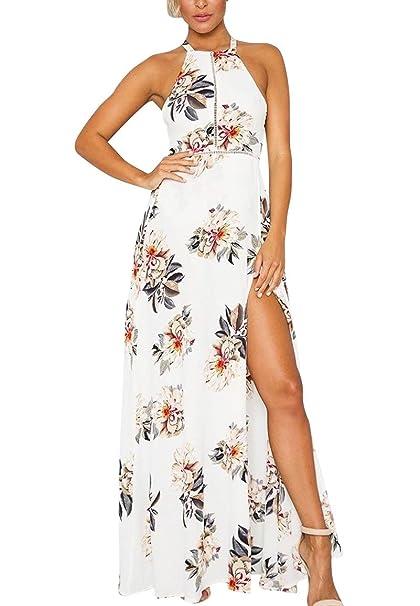 GUOCU Las Mujeres Abrigo De Cuello Halter Floral Print Maxi Vestido De Fiesta Blanco Mujer Vestido