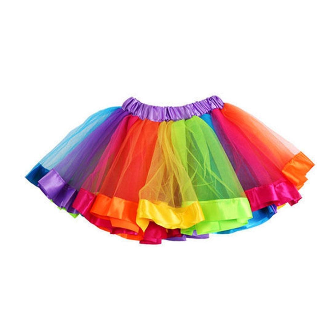 Indexp Girls Bowknot Skirt, Kids Petticoat Rainbow Pettiskirt Tutu Dress