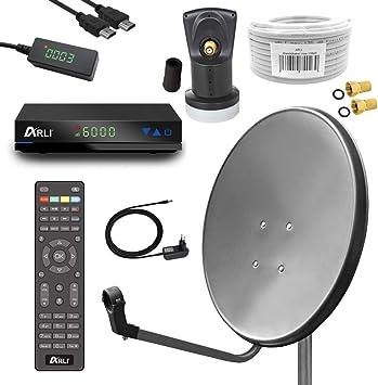 Digital Camping satélite (Antena Parabólica 60 cm Espejo Incluye Arli Ah1 Receptor HD + Single LNB + 10 m Cable