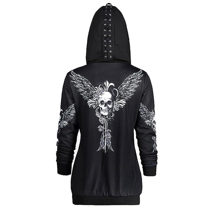 Kangqi Moda Sudadera con capucha con cremallera causal de las mujeres Sudadera con capucha impresa con alas de la capa del cráneo de las alas del cráneo: ...