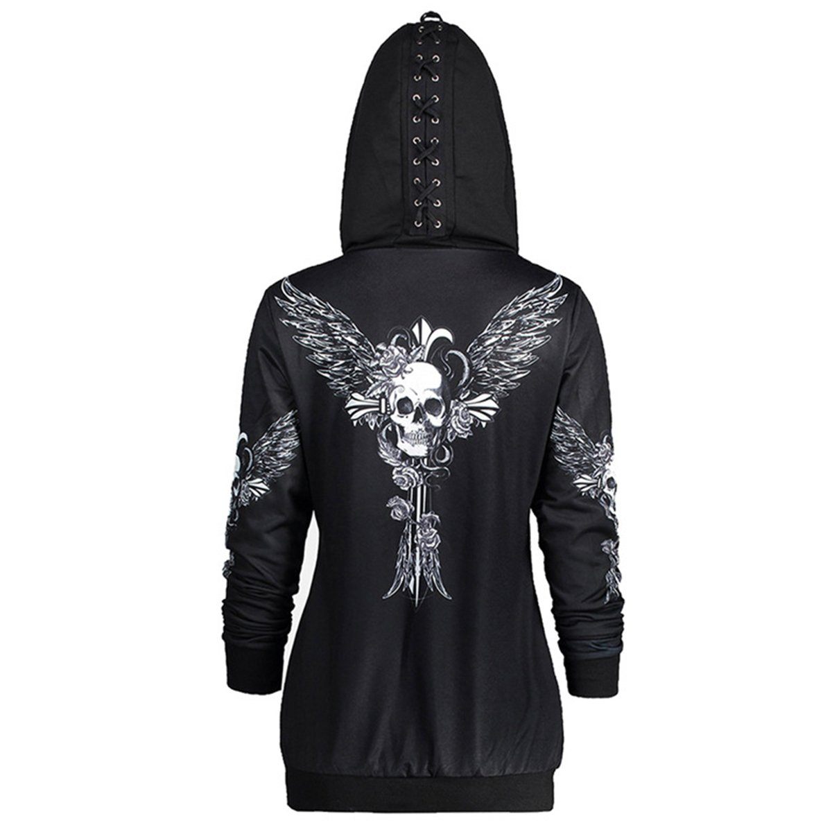WENFUMEI Women Causal Zipper Hoodie Skull Wings Print Hooded Jacket Coat Loose Sweatshirt Size L (Black)