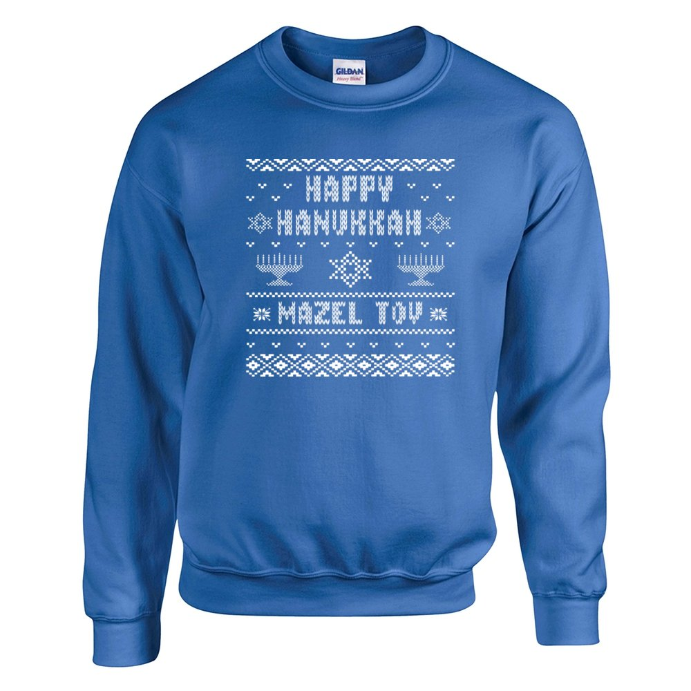 Amazon.com: JEWISH HANUKKAH UGLY CHRISTMAS SWEATER jew SWEATSHIRT ...