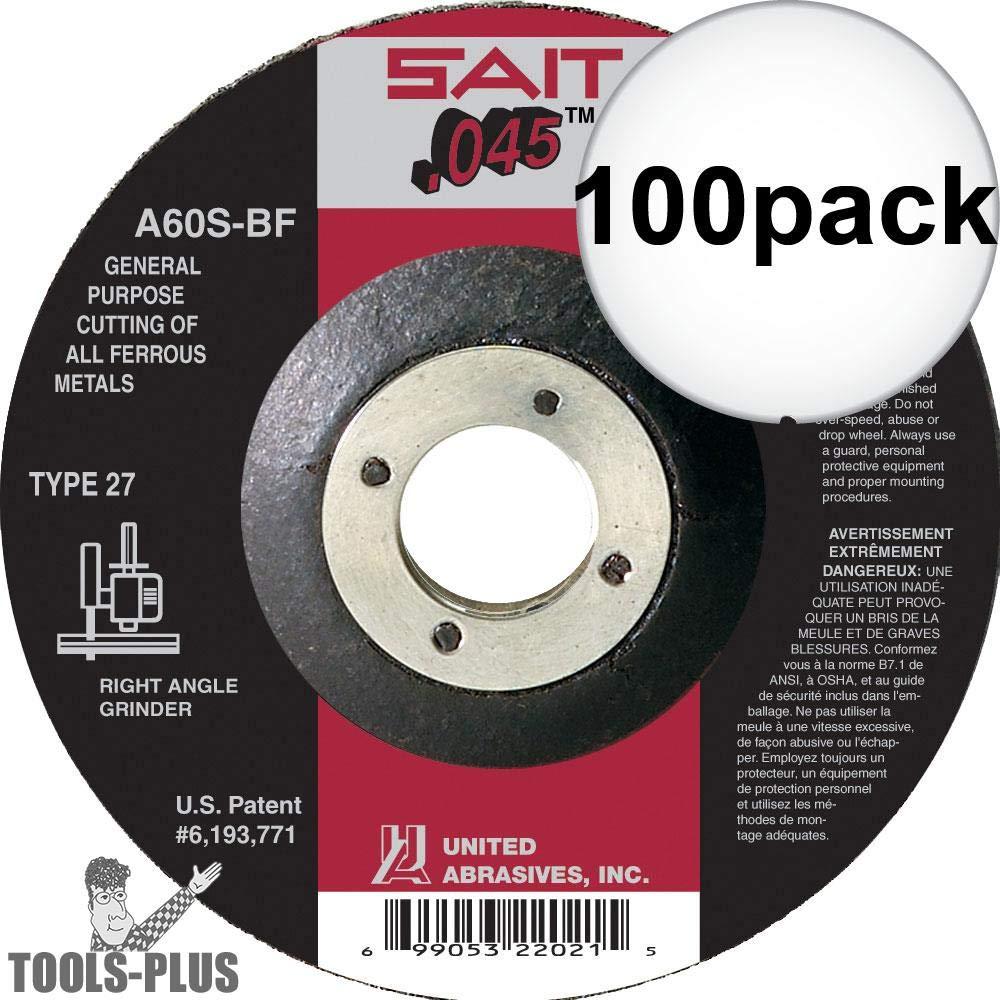 Sait 22021 4-1/2'' x 7/8'' x .045'' Metal Cutting Wheel 100-Pack
