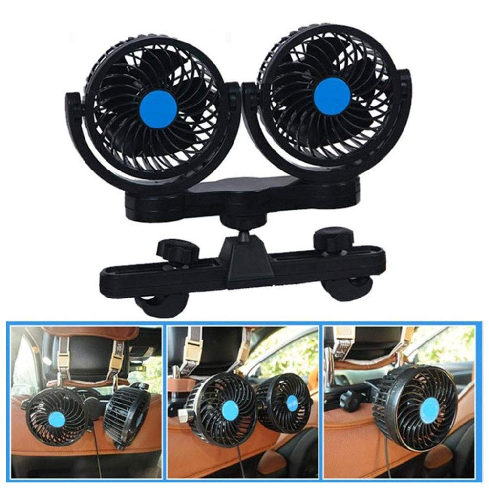 UIEJHN 12 V Auto Kfz L/üfter Doppell/üfter Stufenlose Geschwindigkeitsregulierung Ventilator Klimaanlage Fan f/ür Autositz-Clip
