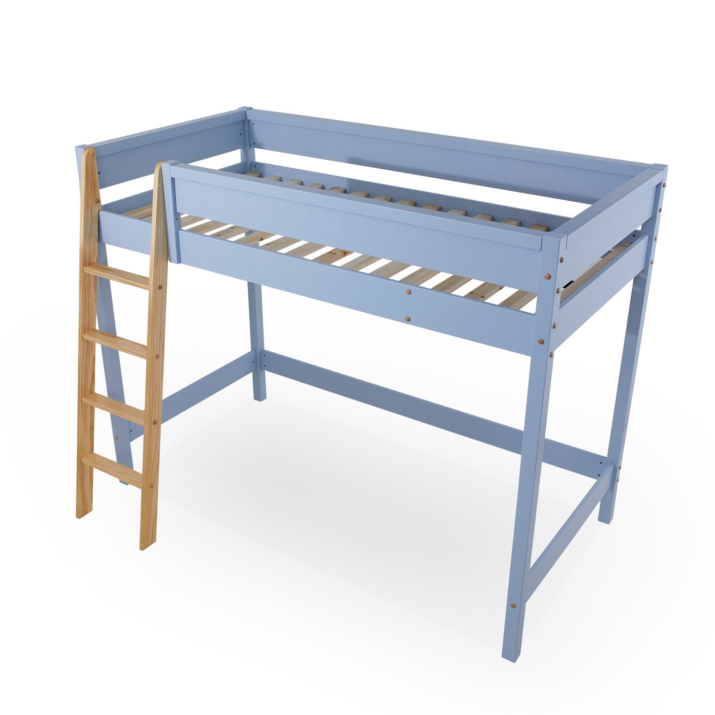 LOWYA (ロウヤ) ロフトベッド ベッドフレーム すのこベッド はしご パステルカラー シングルサイズ 天然木 子供部屋 一人暮らし ブルー/ナチュラル B07DPB6RTY ブルー/ナチュラル