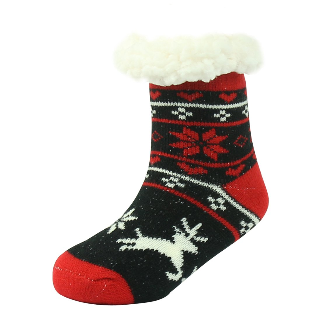 Forfoot Girls Non Slip/Skid Casual Fluffy Plush Lined Knit Holiday Winter Fluffy Chenille Socks Black&Red Dear