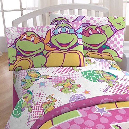 4pc Teenage Mutant Ninja Turtles Full Bed Sheet Set I Love TMNT Shelltastic Bedding ()
