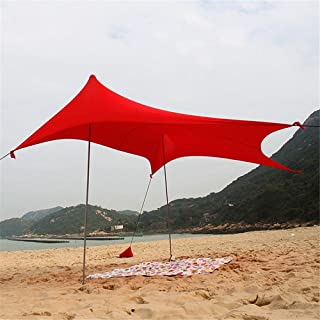 Abri instantané extérieur Protection UV Tente de plage Instantanée Auvent Cabana Sunwall Famille Pare-soleil Protection solaire UPF50 Tente Avec 2 pôles en acier se pliants légers 4 Ancres de sacs de