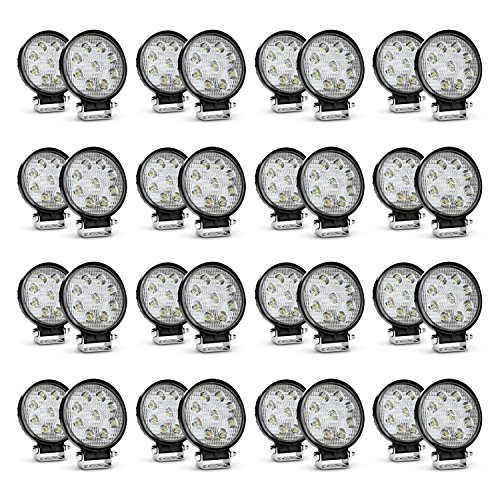 Nilight LED Light Bar 32PCS 27W Round Spot Driving Lamp Waterproof Jeep Off Road Fog Lights , 2 Years Warranty