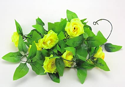 Amazon yellow color one fake silk rose flower ivy vine hanging yellow color one fake silk rose flower ivy vine hanging garland wedding home decor artificial rose mightylinksfo