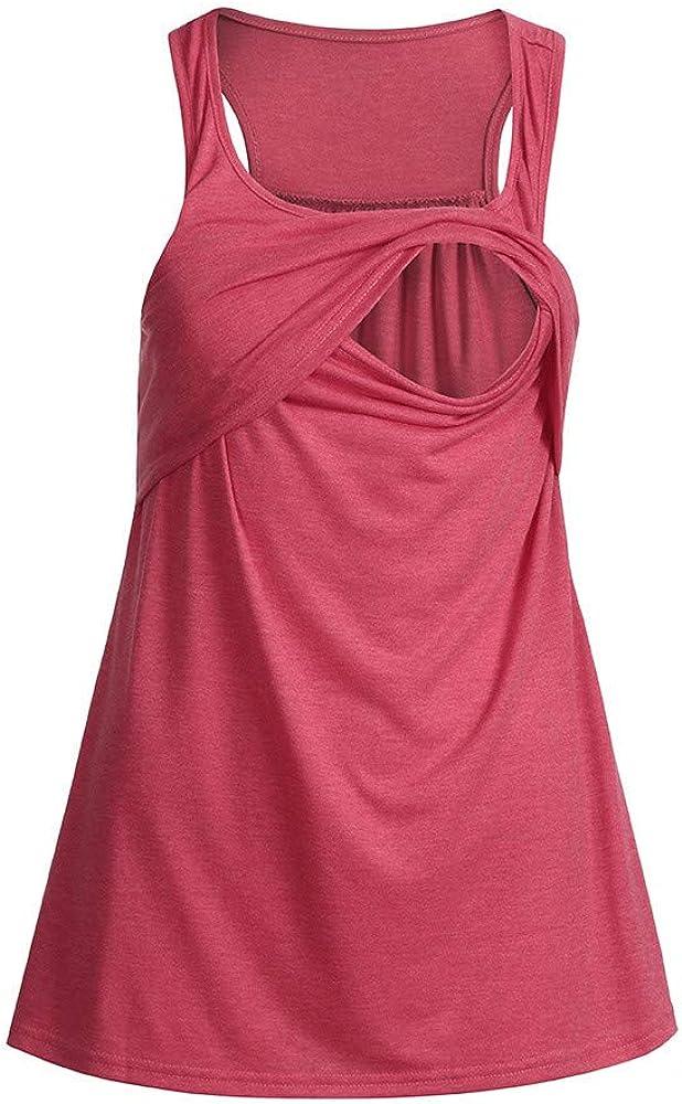 Amyline Womens Maternity Vest,Layered Design Loose Comfy Pull-up Nursing Tank Tops Vest Breastfeeding Shirt