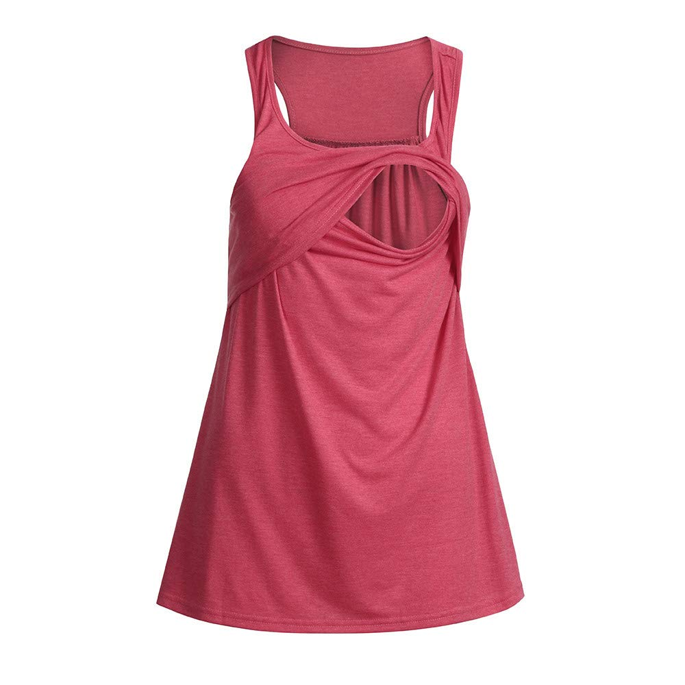 vermers Womens Maternity Tank Tops Casual Loose Comfy Pull-up Nursing Tanks Breastfeeding Vest T Shirt Pregnant Clothes(S,Pink) by vermers Maternity (Image #5)