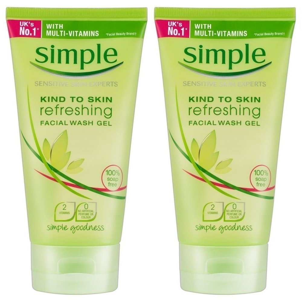 Simple Refreshing Facial Wash Gel, 5 Ounce (Pack of 2)
