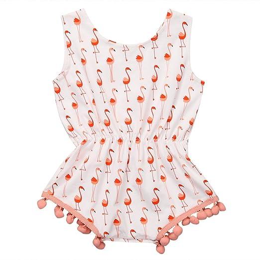 2d3b883f5e8 Amazon.com  Canis Newborn Baby Girls Full of Flamingo Pom Pom Romper  Sleeveless Bodysuit  Clothing