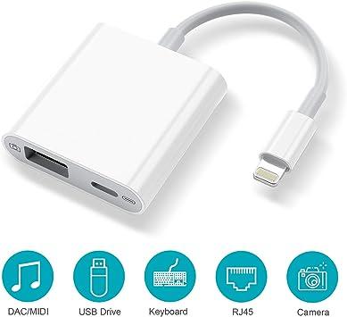 Lightning to USB+Lightning Power //OTG //headphone //Camera Adapter for iPhone iPad