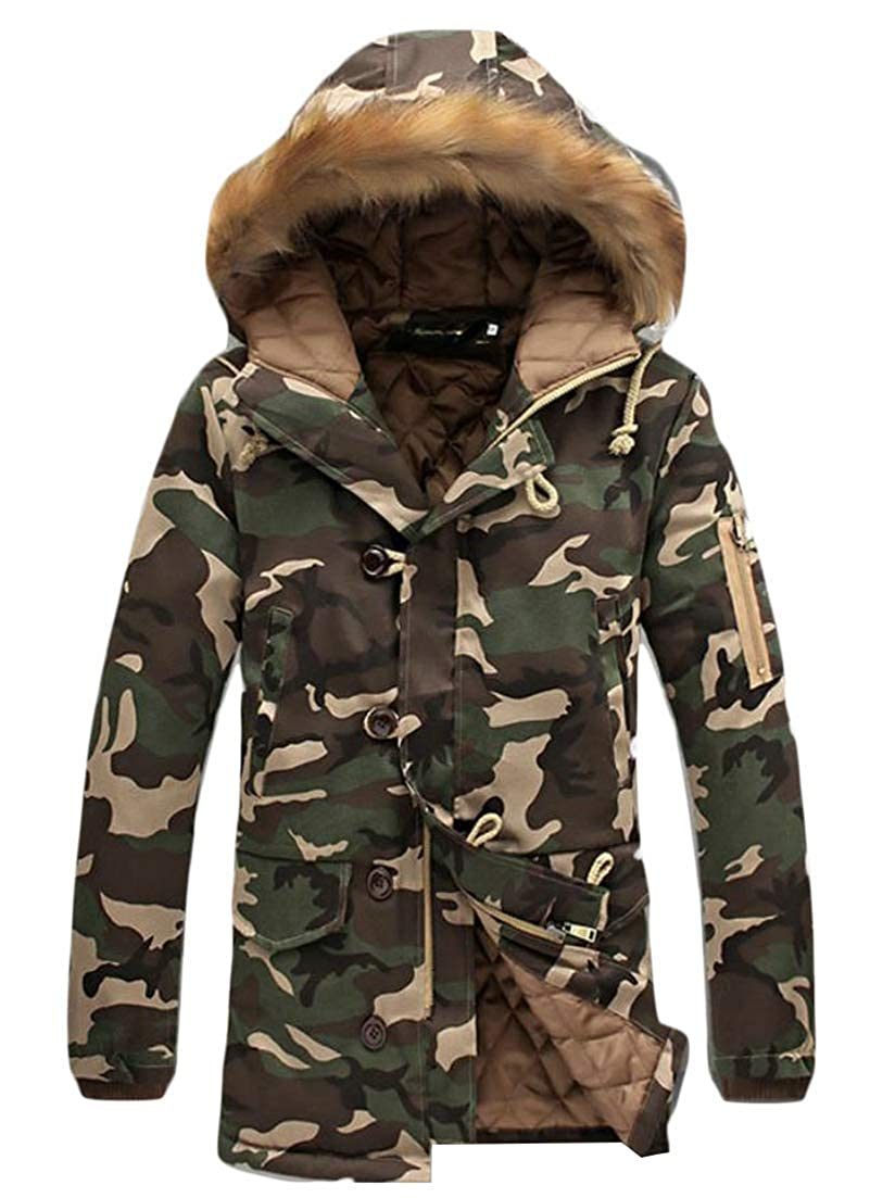 Joe Wenko Men Autumn Winter Camouflage Parkas Faux Fur Hooded Outer Mid Length Down Jacket