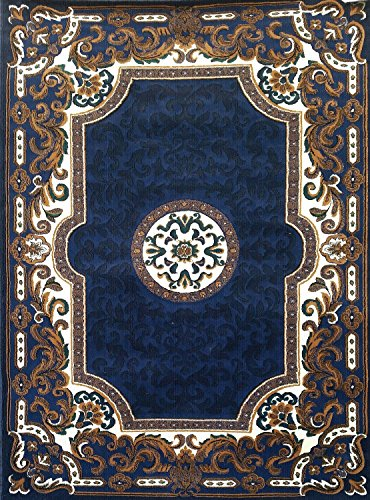 Traditional Machine Made Rug (Traditional Area Rug Navy Blue Persian Kingdom Design D123 (5 Feet 2 Inch X 7 Feet 1 Inch ))