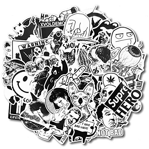 Notable 100Pcs Black and White Vinyl Decal Fashion Sticker Set, Perfect Graffiti Label, Random Mixed No-Duplicate, Ideal for Laptop Skins, Helmet, Luggage, Car, Motorcycle, Bumper, DIY Projects ()