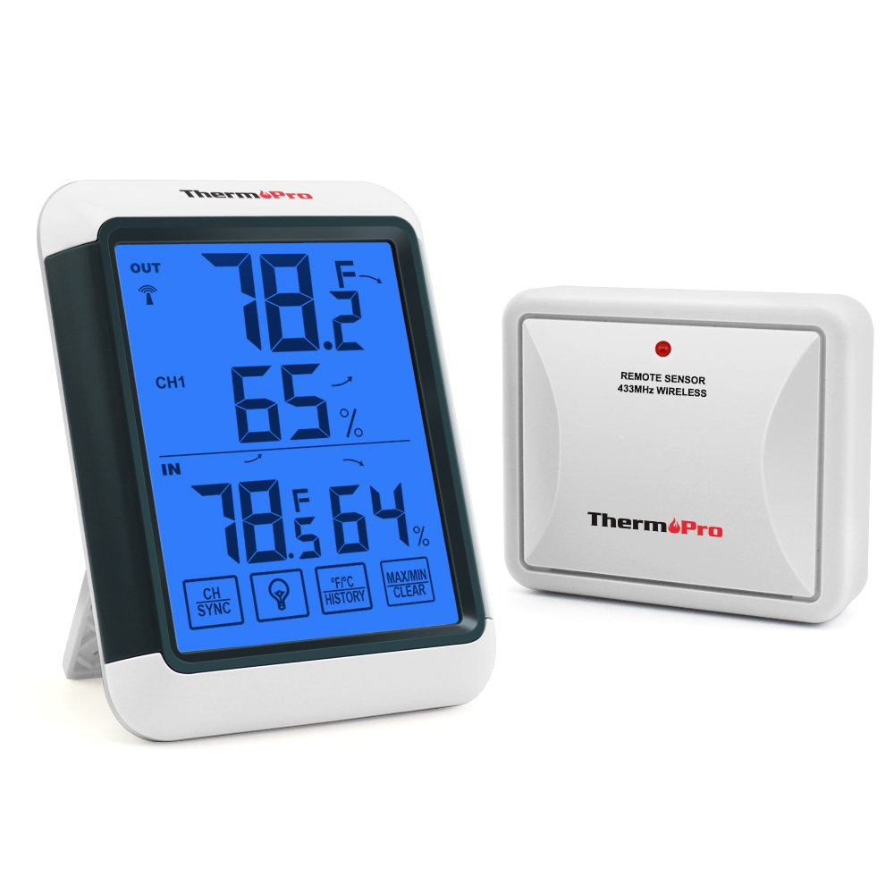 ThermoPro TP-65 Digital Hygrometer Indoor Outdoor Thermometer Wireless Temperature and Humidity Monitor with Jumbo Touchscreen and Backlight Humidity Gauge, 200ft/60m Range product image