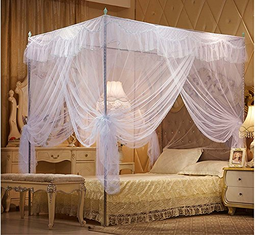 Nattey 4 Corners Lace Bedding Curtain Canopy Mosquito Netting Canopies Twin Full Queen