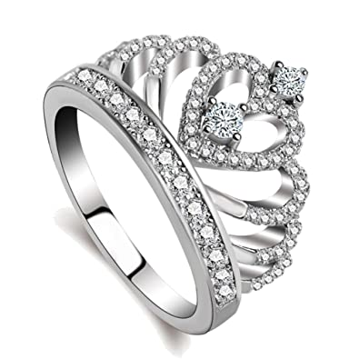 Amazon Com Rings Women 18k White Gold Plated Aaa Cubic Zirconia
