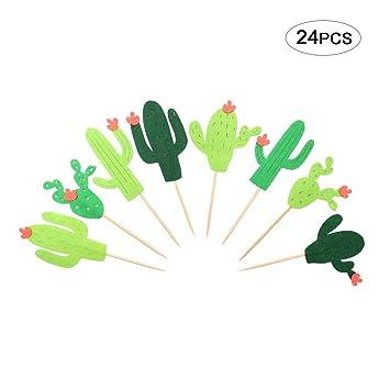 Rocita 24pcs Toppers de Tarta Surtido de Cactus Decoración de ...