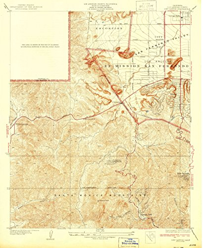 Dry Canyon CA topo map, 1:24000 scale, 7.5 X 7.5 Minute, Historical, 1932, 20.8 x 17.1 IN - - Map Canyon Of Topanga
