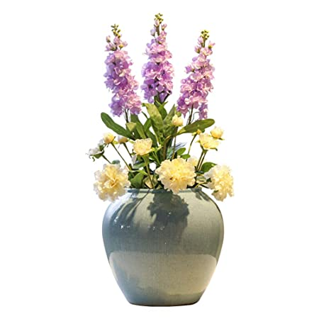 Artificial Flowers Ceramic Countertop Vase Living Room Hotel