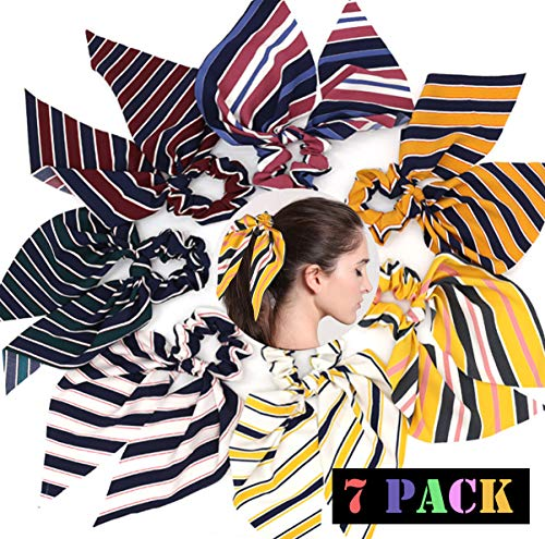 Ehope 7 Pcs Hair Scrunchies Silk Elastic Hair Bands Hair Scarf Ponytail Holder Scrunchy Ties Vintage Accessories for Women Girls (Stripe-7PACK)